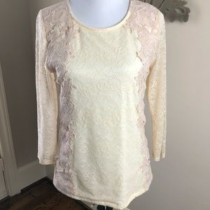 Anthropologie Ivory and Pink Top Sz Medium